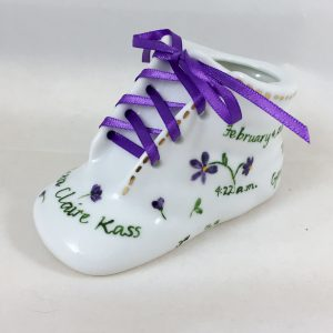 Celebrate Life 18 hand painted personalized porcelain baby shoe