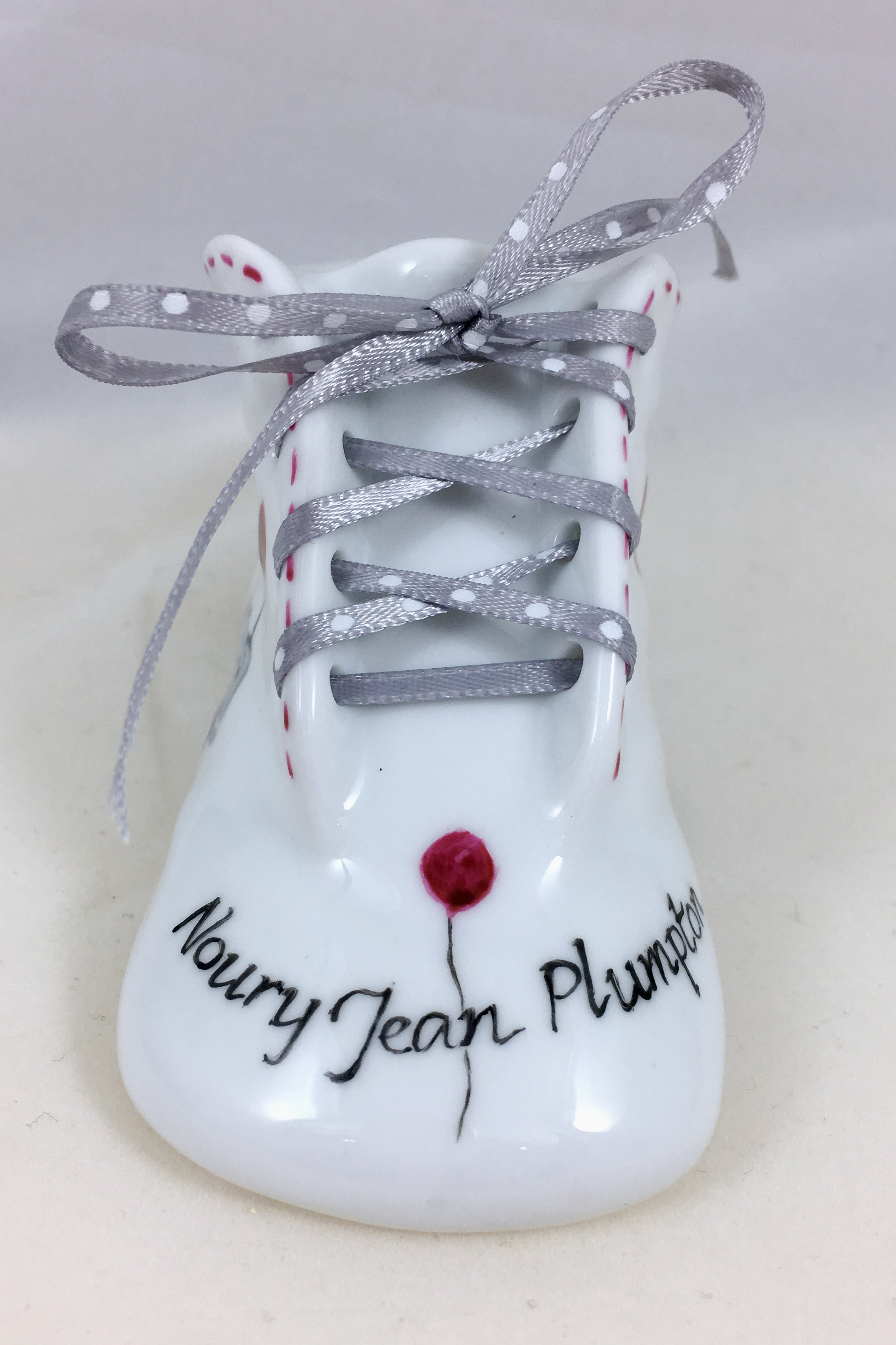 Hand Painted Personalized Baby Shoes In Porcelain