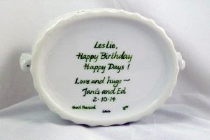 hand painted personalized porcelain birthday cachepot