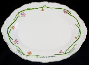 Hand Painted Personalized Porcelain Challah or Large tray for Wedding and Anniversary Gifts, Judaica, Calligraphy Hebrew and English