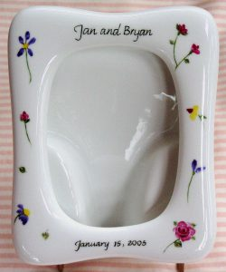 Hand Painted Personalized Porcelain Picture Frame for Wedding and Anniversary Gifts, Judaica, Calligraphy Hebrew and English