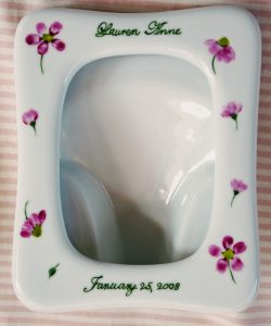 hand painted personalized porcelain picture frame