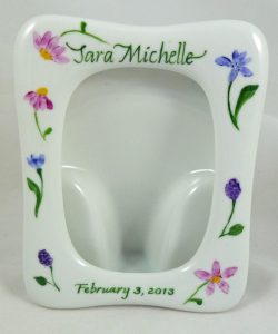 Celebrate Life 18 hand painted & personalized porcelain picture frame