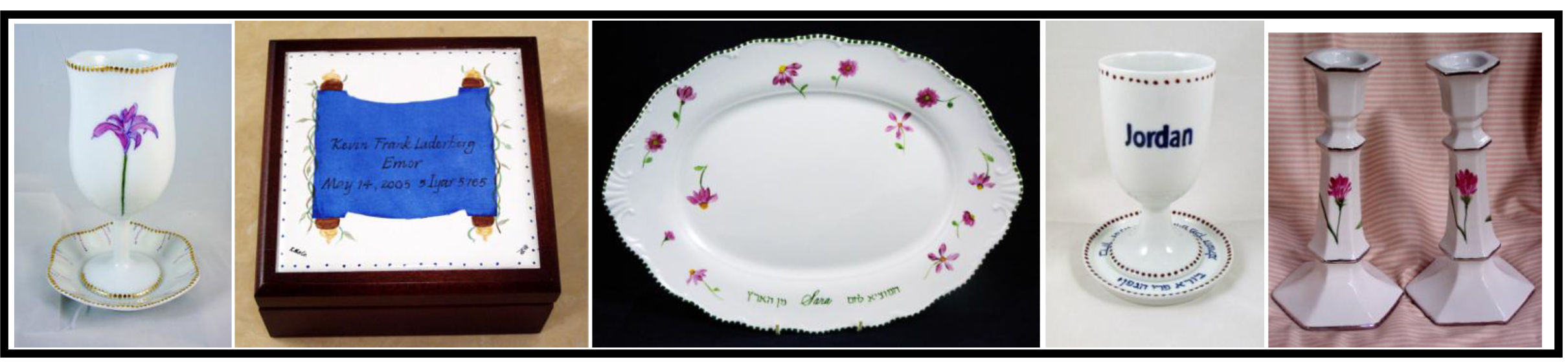 hand painted personalized porcelain Bar and Bat Mitzvah Gifts Kiddish Cup Kiddish Cup Sets Challah Tray boxes