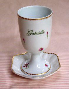 hand painted personalized porcelain judaic Kiddush Cup Set