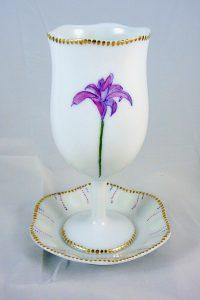 Hand Painted Personalize Porcelain Kiddush Cup Set for Bat Mitzvah