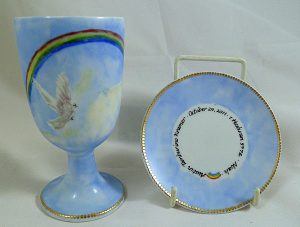 Hand Painted Personalize Porcelain Kiddush Cup Set for Bar Mitzvah