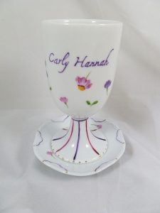Hand Painted Personalize Porcelain Kiddush Cup Set for Bat Mitzvah