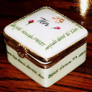 Hand Painted Personalized Porcelain box for Wedding and Anniversary Gifts, Judaica, Calligraphy Hebrew and English