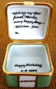 hand painted personalized porcelain birthday box