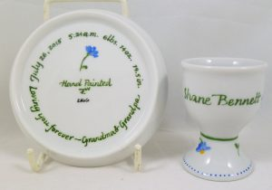 Celebrate Life 18 hand painted personalized porcelain miniature Kiddush Cup Set