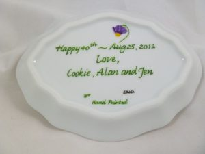 Celebrate Life 18 hand painted & personalized tray in porcelain
