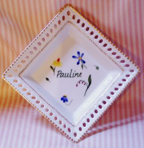 hand painted personalized porcelain birthday tray