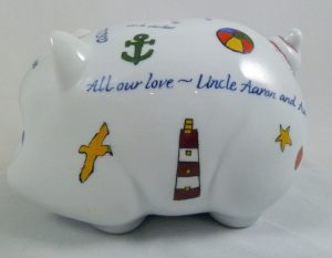 Celebrate Life 18 hand painted & personalized piggy bank of porcelain