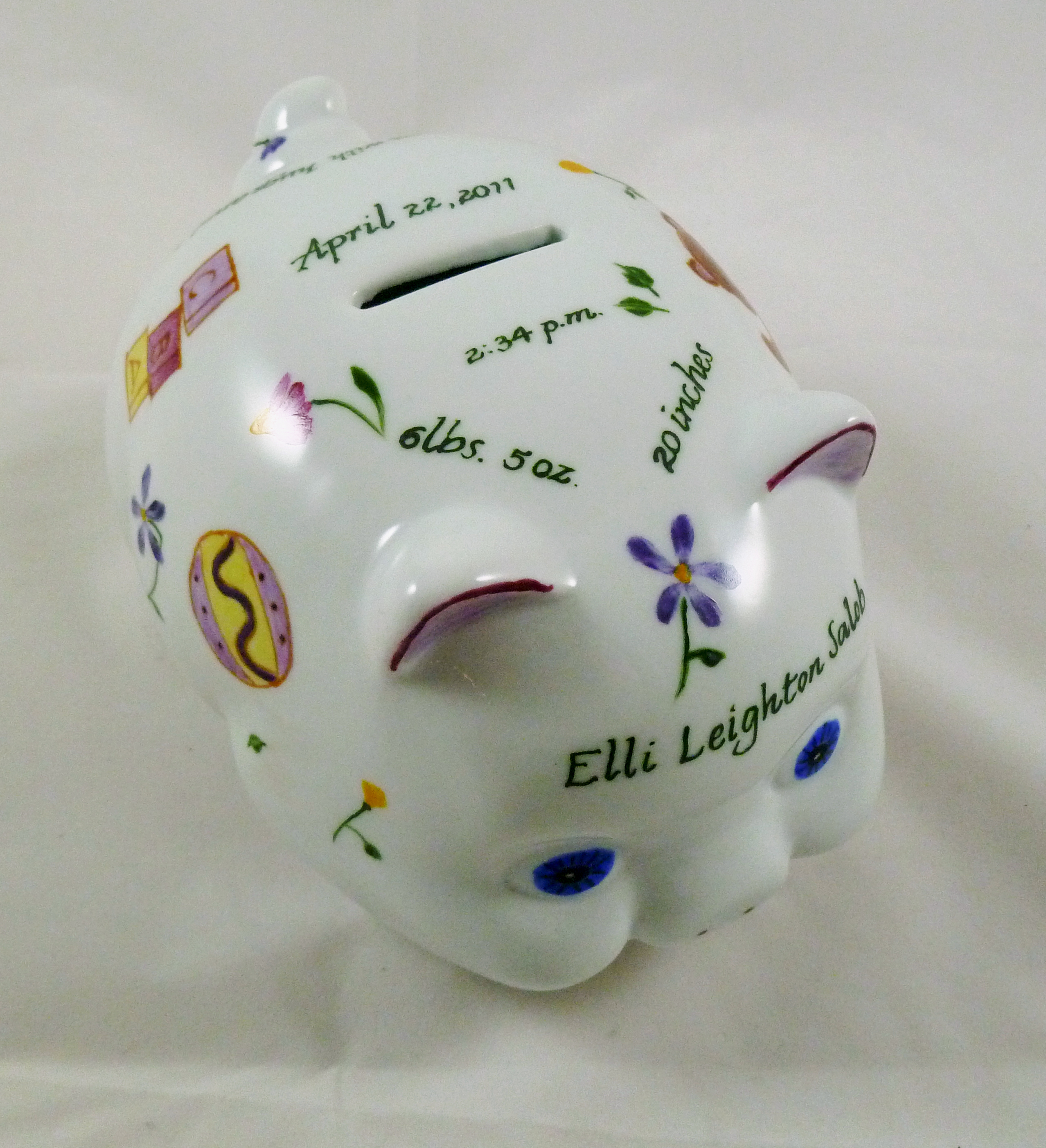 Celebrate life 18 baby gifts of hand painted personalized porcelain celebrate life 18 hand painted personalized piggy bank of porcelain negle Choice Image