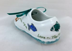 Celebrate Life 18 hand painted & personalized porcelain baby shoe