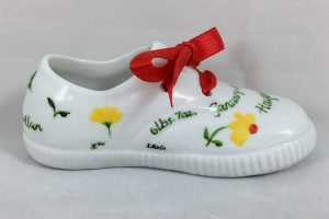 hand painted baby shoe sneaker Celebrate Life 18 hand painted & personalized porcelain baby shoe