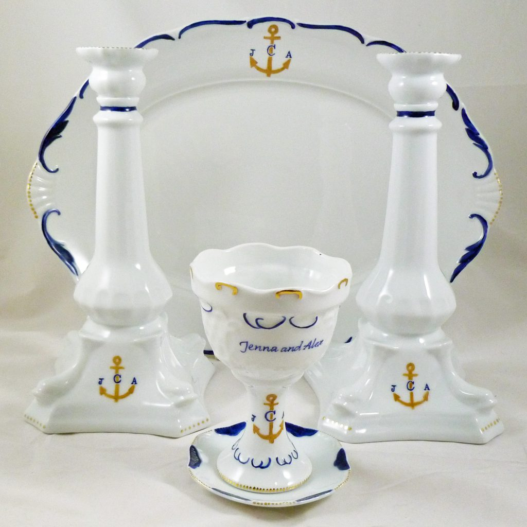 hand painted personalized porcelain judaica Wedding Set with Kiddush Cup, Candleholders and Challah Tray