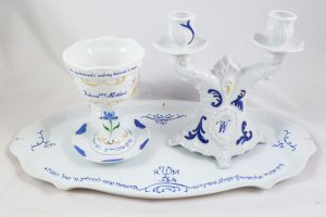 Celebrate Life 18 hand painted & personalized porcelain judaic Wedding Shabbat Set