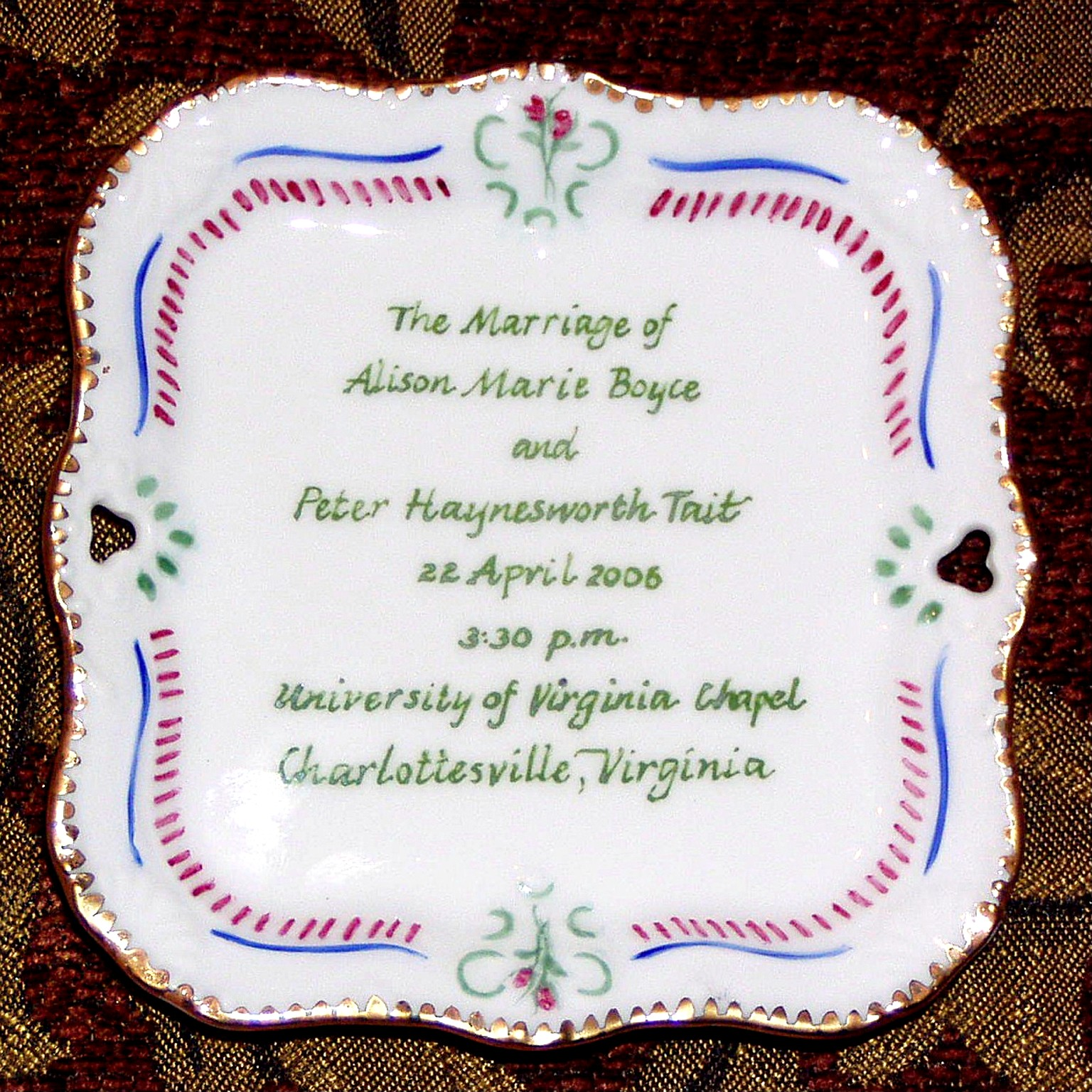 Hand Painted Personalized Trays Gifts In Porcelain For