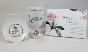 Hand painted, personalized Wedding Kiddush Cup Set in porcelain, designed to match invitation