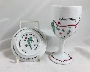 Celebrate Life 18 Hand painted and personalized porcelain Bat Mitzvah Kiddush cup Set