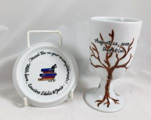 Celebrate Life 18 Hand painted and personalized porcelain Bar Mitzvah Kiddush cup Set