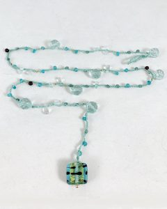 Celebrate Life 18 floating and hand woven custom necklaces and wrap bracelets with semi precious stone beads, with spiritual meaning, gematria and numerology
