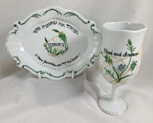 Celebrate Life 18 Hand painted and personalized porcelain Wedding Kiddush cup Set